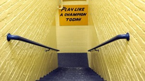 The famous sign at the end of the tunnel at Notre Dame Stadium.